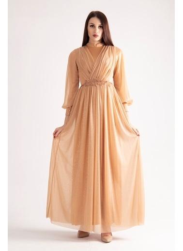 Belamore  Gold Beli Işlemeli Drape Detaylı Abiye & Mezuniyet Elbisesi 1604003.122 Altın